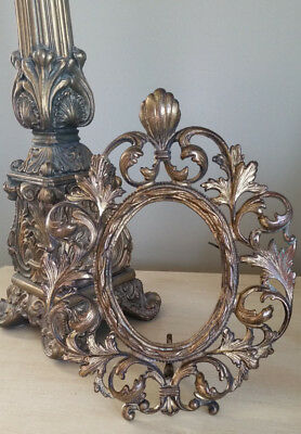 Antique Cast Iron Oval Picture Frame Victorian Ornate Gold Patina Original Easel