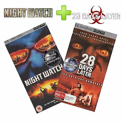 📽🎬●● PSP Apocalyptic Thriller Double NIGHT WATCH + 28 DAYS LATER ●● UMD Video