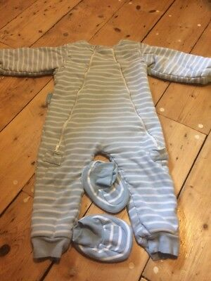 Jo Jo Maman Bebe Sleep Snuggler Suit. 2.5 Tog. Blue And White. 18-24 Months