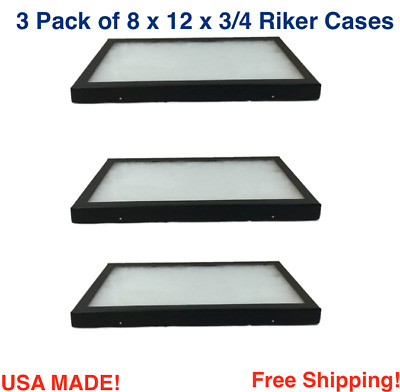 3 Pack of Riker Display Cases 8 x 12 x 3/4 for Collectibles Jewelry & More