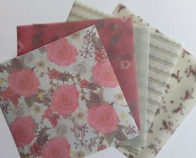"""Docrafts Papermania POCKET FULL OF POSIES ~ 6"""" x 6"""" Vellum Pack (10pk)"""