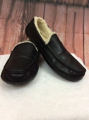 Ugg Australia Mens Slip-On Loafers Black Leather Casual Slippers Size 12