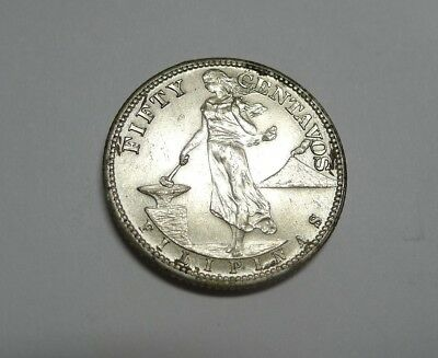 1944-S Silver 50 Centavos PHILIPPINES! Near Uncirculated!