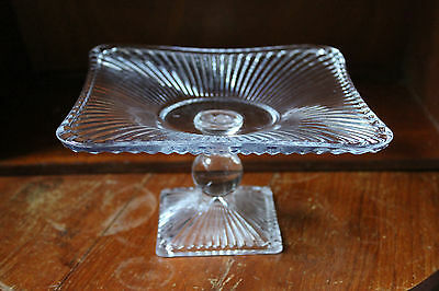 Vintage Antique Art Deco Square Pressed Glass Cake Stand Wedding Birthday Party