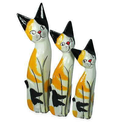 Handcarved Painted Softwood Cat Set of3