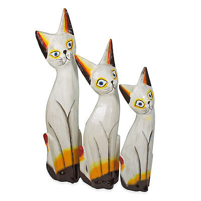 Handcarved & Painted Soft wood Cat Set of 3