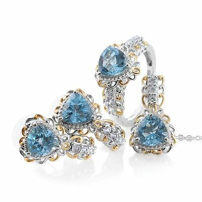 Blue Topaz 9.85 ct 14KYG Silver Earrings Ring Size 7 and Pendant With Chain