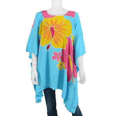 Multi Color Hand painted Floral Motif Rayon Poncho