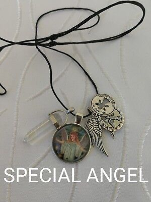 00031 SPECIAL ANGEL Clear Quartz Infused Pendulum Necklace Doreen Virtue Certifi