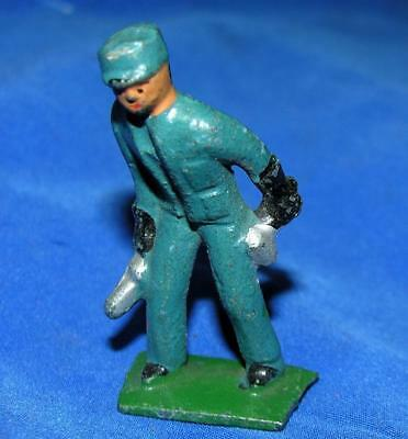 1930's Vtg Toy Lead Miniature Figure, Work Man In Blue, Xmas Putz Dolls House