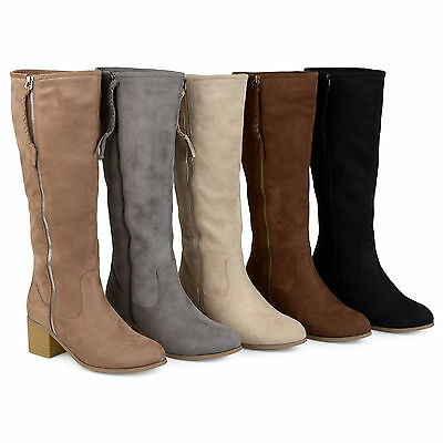 278fac1861e BRINLEY CO WOMENS Regular and Wide-Calf Faux Suede Mid-calf Wood Heel Boots  New