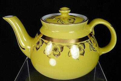 Hall New York Teapot 6 Cup Canary Yellow Standard Gold Trillium Decoration w/Lid