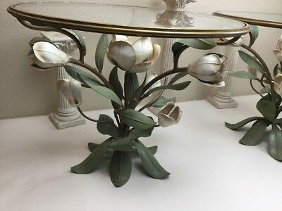 Stunning Pair Authentic Vintage Made Italy Toleware Metal Magnolia Glass Tables