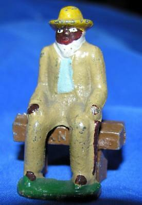 Vtg 1930's Miniature Lead Figure On Stool, Old African American Man, Xmas Putz