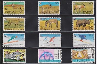 (U36-2) 1960-80 Chad mix of 21 stamps valued to 500F (B)