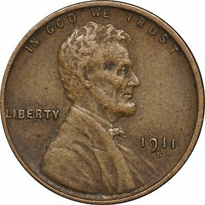1911 S Lincoln Head Wheat Cent, Extra Fine XF