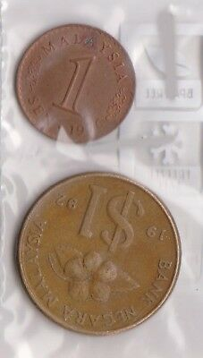 (H86-1) 1971-92 Malaysia 1c and $1.00 coins (AB)
