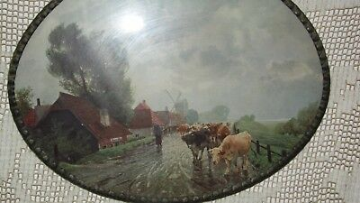 40's Made In Germany Stamped Metal Lead Frame Cow Cattle Farm Scene Flue Cover