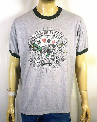 euc Flogging Molly heather gray Ringer Band T-Shirt not concert tour SZ XL