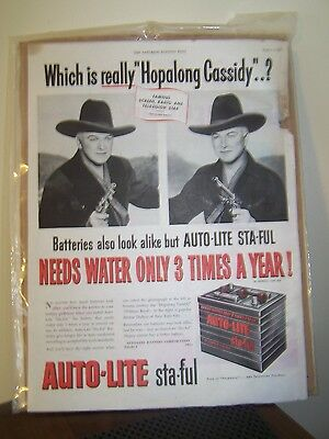Hopalong Cassidy AutoLite Ad-Mercury Car Ad-Sat Eve Post 1951-1950's Advertising