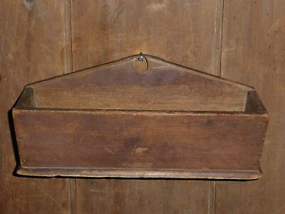 EARLY 19th C PRIMITIVE OLD ATTIC SURFACE HANGING WOOD CANDLE WALL BOX