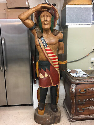 Vintage Cigar Store Indian Chief 6 Feet Tall Hand Carved Tobacciana Man Cave