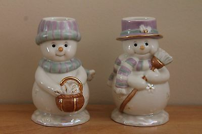 Lenox Jolly Snow Couple Candlestick Pair NIB (last one)