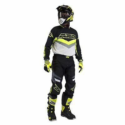 AXO Trans-Am Motocross BMX Pants and Jersey combo Black-White-Flo Yellow