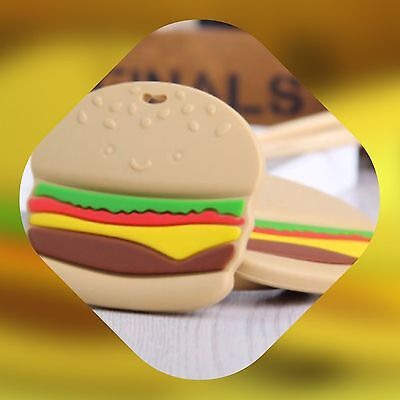 "Silicone Beads Jewellery Teether Teething baby sensory Nursing Autism ""Burger"""