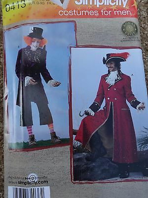 Simplicity #0413 PATTERN Costumes Men Mad Hatter, Capt. Hook 2 sizes L XL BB NEW