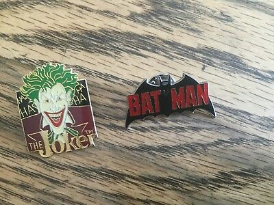 Lot of 2 Vintage DC Comics Pins Batman and The Joker Officially Licensed