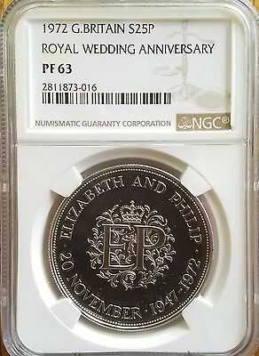 1972 Great Britain Silver 25 Pence Ngc Pf63