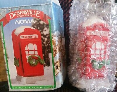 Dickensville Noma~Porcelain Christmas Telephone Booth~1990 NEW IN BOX
