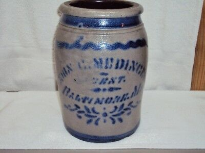Antique 1850s John Medinger Agent Advertising Crock Salt Glaze Cobalt Decoration