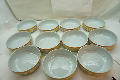 BLOCK CHINA HEARTHSTONE PATTERN 11 CEREAL BOWLS GINGER YELLOW VISTA ALEGRE d