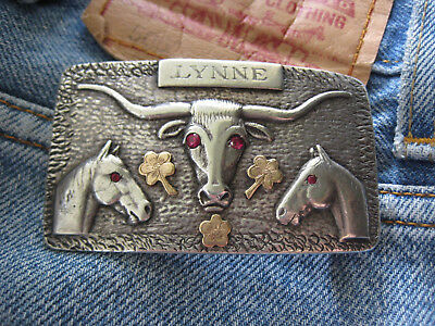 EXCEPTIONAL Sterling 10K LONGHORN STEER HEAD and HORSE HEAD Buckle - GOLD CLOVER