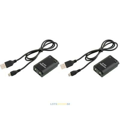 2X 4800mAh Battery Pack + Charger Cable Xbox 360 Wireless Controller LS4G
