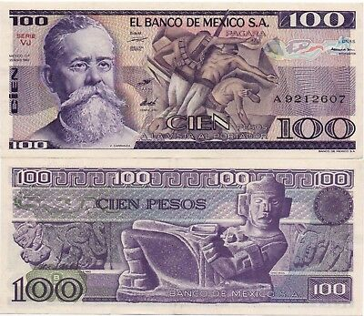 Mexico Banknote 100 Pesos AU UNC Crisp Paper Money - Mix Year - Few Available