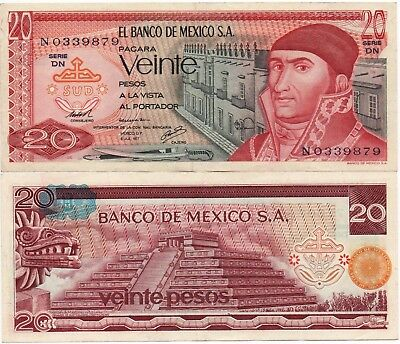 Mexico Banknote 20 Pesos AU UNC CRISP Paper Money - Mix Year - FREE SHIPPING