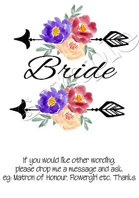 Iron on Transfer BRIDE HENS FLOWER ARROW BOHO WEDDING 14x14cm