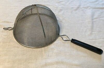 Vintage Large Wire Mesh Strainer~Sieve W/Black Handle