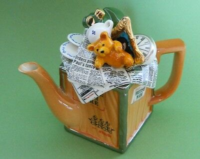 England Cardew Porcelain Teapot Gold Silver Moving Day Teddy Bear One 1-Cup