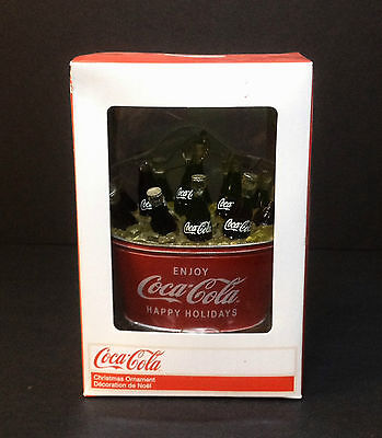 NIB Kurt S Adler 2010 Coca Cola Soda Bottles in Coke Tub Christmas Ornament NEW