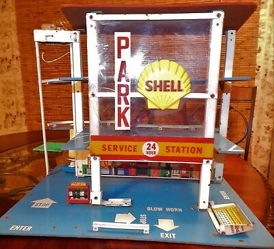 Vintage SHELL service station fold up parking garage toy, Extremely Rare!!