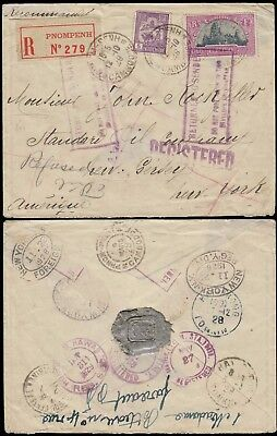 CAMBODIA REGD CVR FROM CAMBODIA TO U.S. FRANKED WITH INDO CHINA 5ct & 20ct