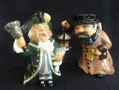 TWO Large Toby Jugs Night Watchman Town Crier Roy Kirkham Pottery Staffordshire