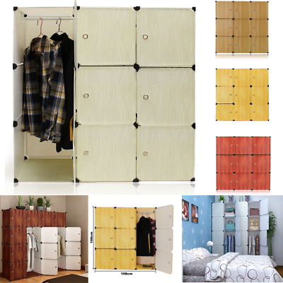 9 Cube Portable Clothes Closet Organizer Wardrobe Storage Shelves + Hanging Rail