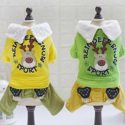 Christmas Fawn Coat Puppy Small Dog Cat Pet Warm Lovely Winter Cosplay Clothes