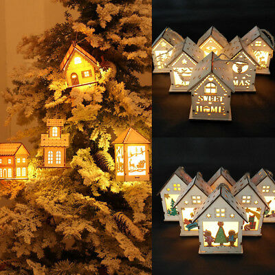 Christmas Hanging Ornament LED Lights Wood HOUSE Xmas Tree Decorations Baubles