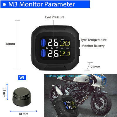 Motorbike TPMS Tire Pressure Monitoring Systems w/ Wireless USB Power Waterproof